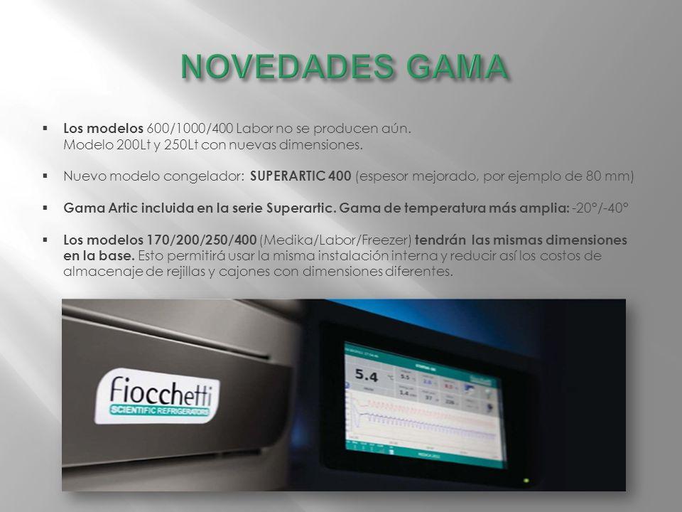 Los modelos 600/1000/400 Labor no se producen aún. Modelo 200Lt y 250Lt con nuevas dimensiones. Nuevo modelo congelador: SUPERARTIC 400 (espesor mejor
