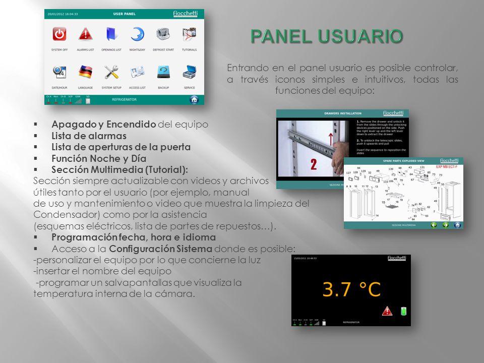 Entrando en el panel usuario es posible controlar, a través iconos simples e intuitivos, todas las funciones del equipo: Apagado y Encendido del equip