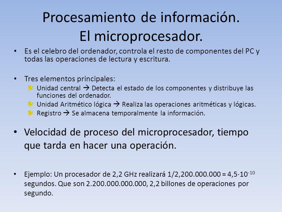 Procesamiento de información. El microprocesador. Es el celebro del ordenador, controla el resto de componentes del PC y todas las operaciones de lect