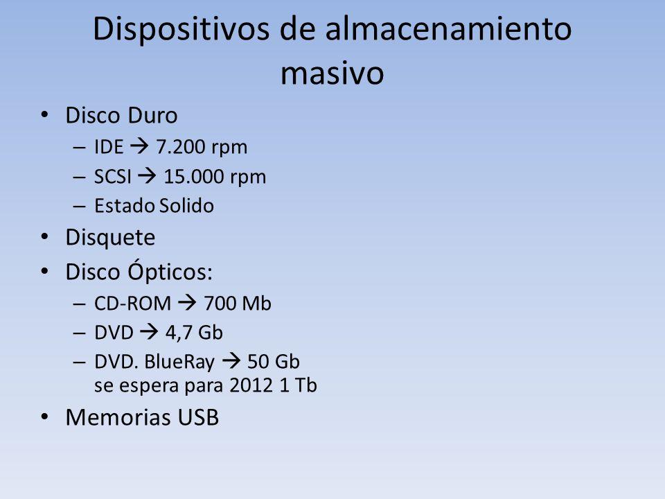 Dispositivos de almacenamiento masivo Disco Duro – IDE 7.200 rpm – SCSI 15.000 rpm – Estado Solido Disquete Disco Ópticos: – CD-ROM 700 Mb – DVD 4,7 G