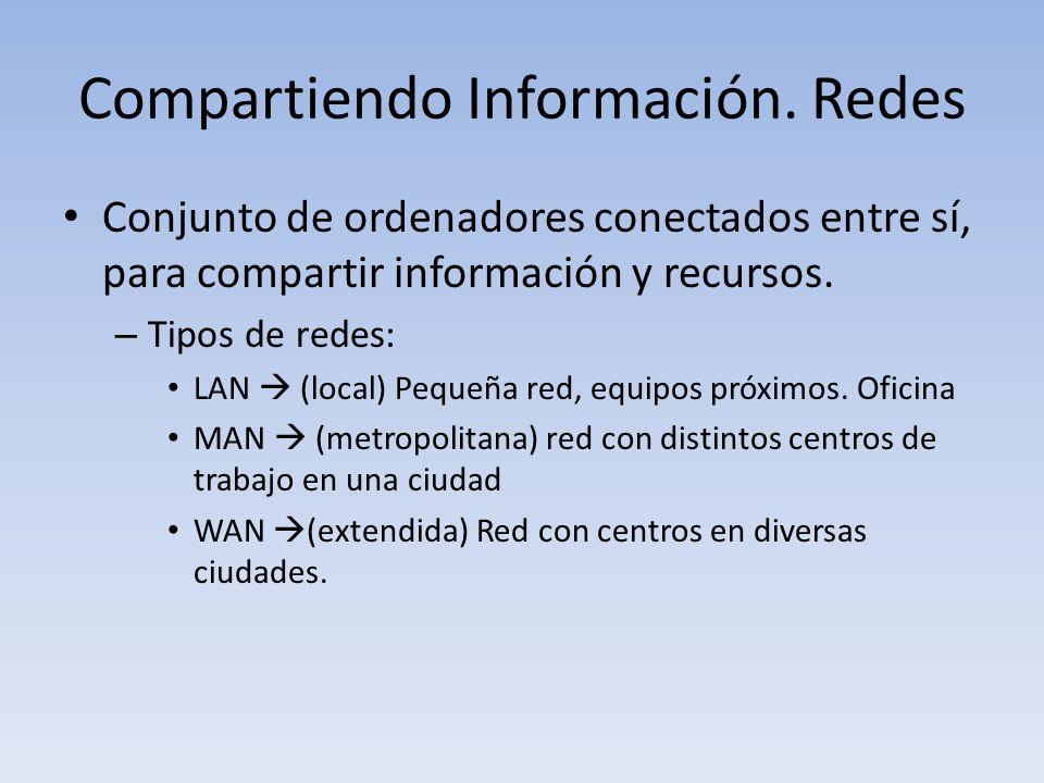 Compartiendo Información. Redes Conjunto de ordenadores conectados entre sí, para compartir información y recursos. – Tipos de redes: LAN (local) Pequ