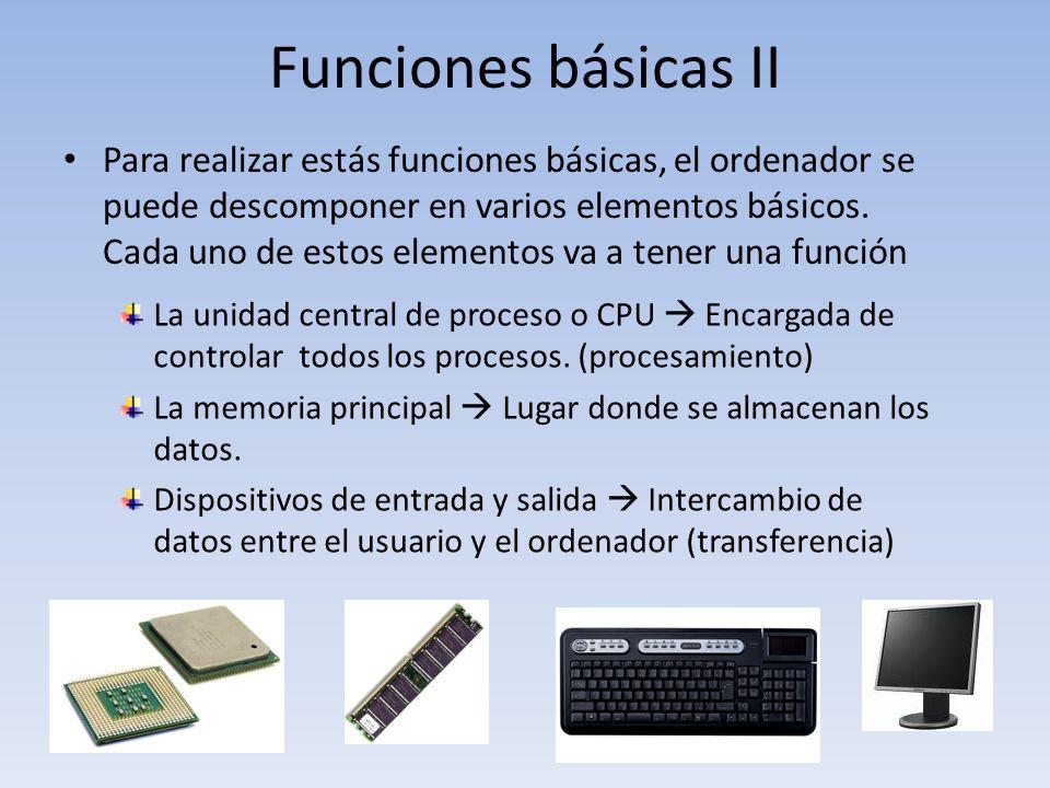 Funciones básicas II Para realizar estás funciones básicas, el ordenador se puede descomponer en varios elementos básicos. Cada uno de estos elementos