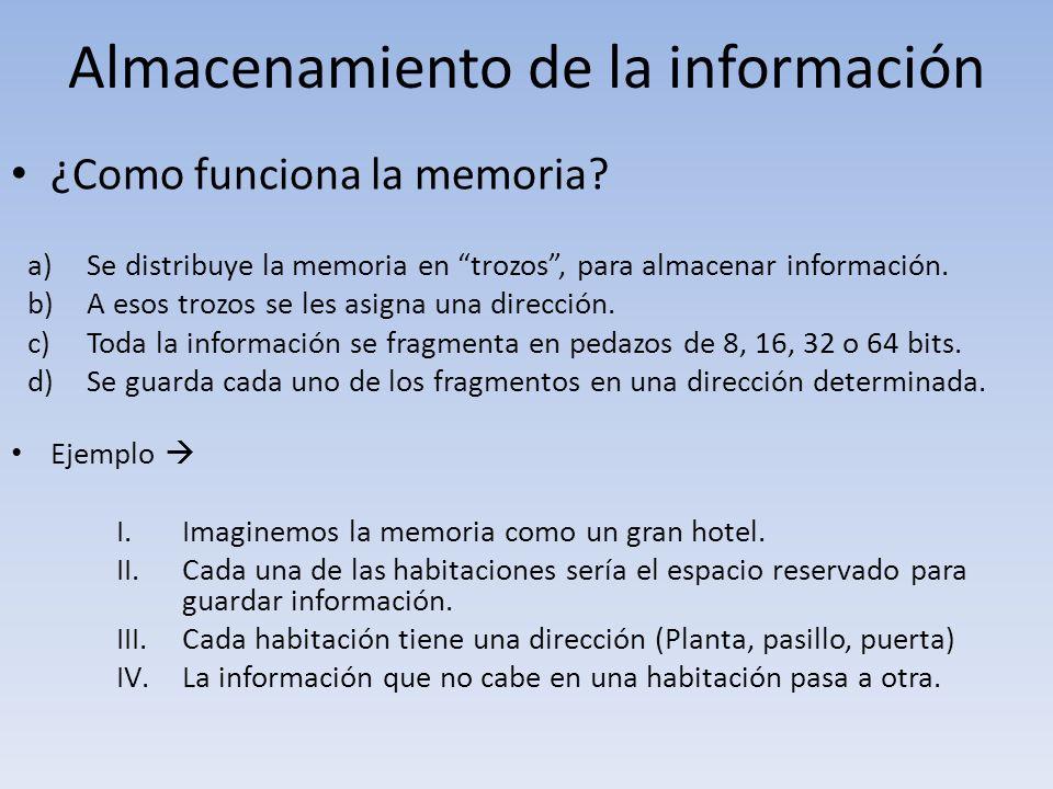 Almacenamiento de la información ¿Como funciona la memoria? a)Se distribuye la memoria en trozos, para almacenar información. b)A esos trozos se les a