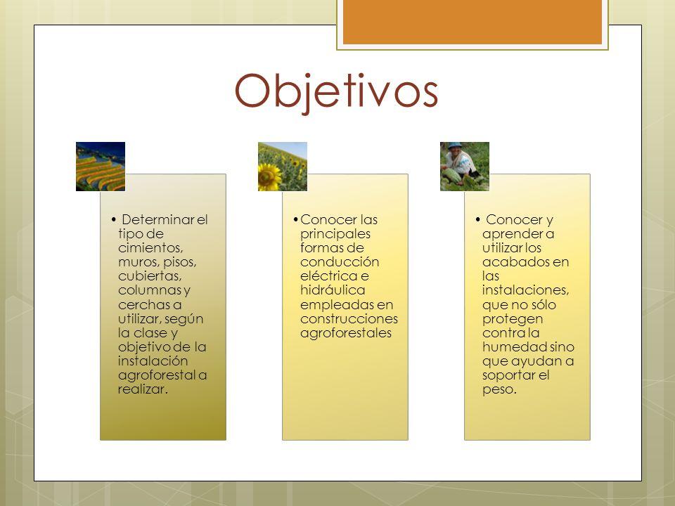 Objetivos Determinar el tipo de cimientos, muros, pisos, cubiertas, columnas y cerchas a utilizar, según la clase y objetivo de la instalación agrofor