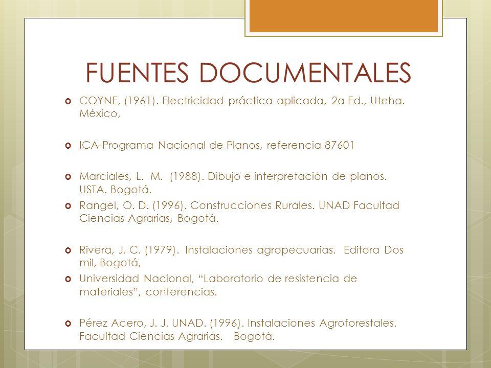 FUENTES DOCUMENTALES COYNE, (1961). Electricidad práctica aplicada, 2a Ed., Uteha. México, ICA-Programa Nacional de Planos, referencia 87601 Marciales