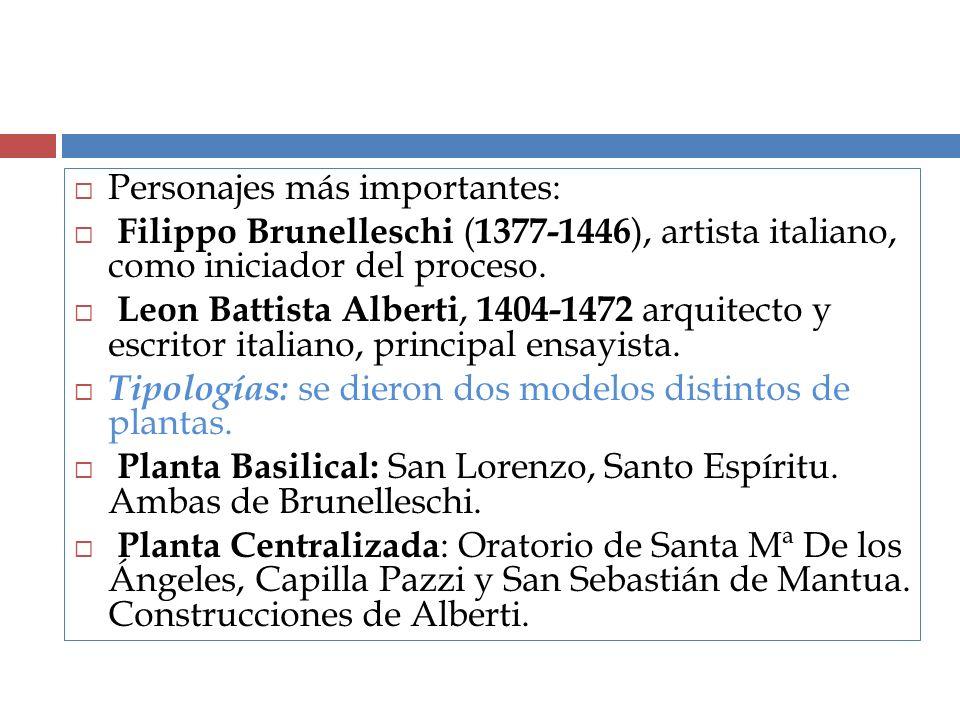 Personajes más importantes: Filippo Brunelleschi ( 1377-1446 ), artista italiano, como iniciador del proceso. Leon Battista Alberti, 1404-1472 arquite