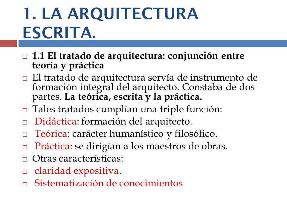 1. LA ARQUITECTURA ESCRITA. 1.1 El tratado de arquitectura: conjunción entre teoría y práctica El tratado de arquitectura servía de instrumento de for