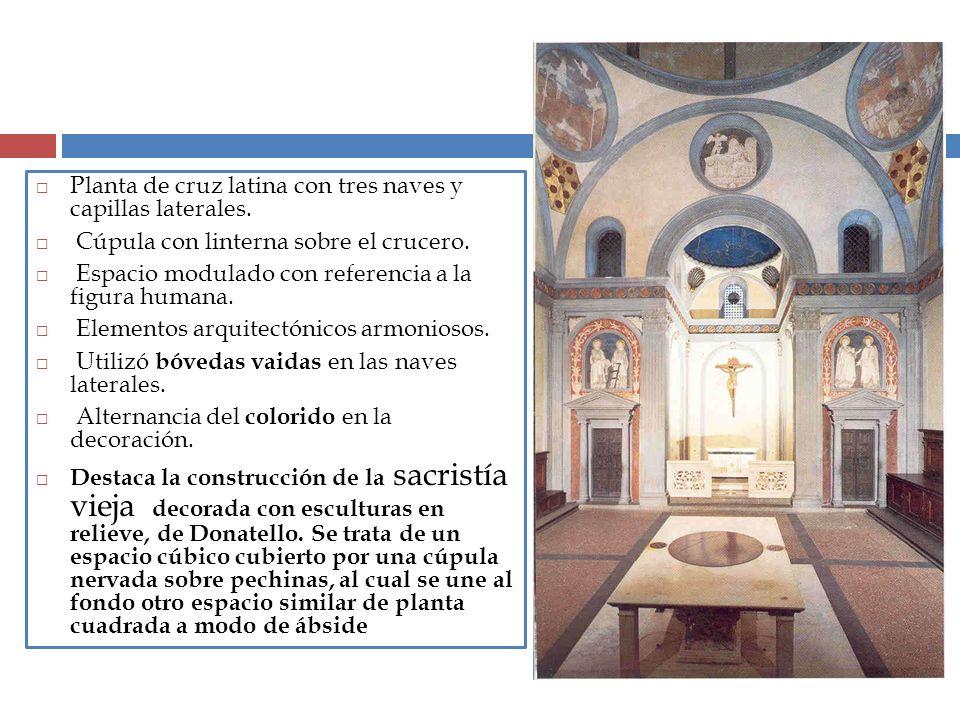 Planta de cruz latina con tres naves y capillas laterales. Cúpula con linterna sobre el crucero. Espacio modulado con referencia a la figura humana. E