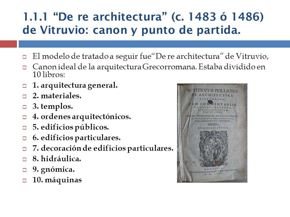 1.1.1 De re architectura (c. 1483 ó 1486) de Vitruvio: canon y punto de partida. El modelo de tratado a seguir fueDe re architectura de Vitruvio, Cano