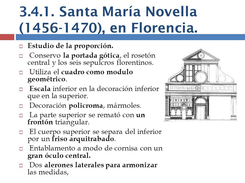 Estudio de la proporción. Conservo la portada gótica, el rosetón central y los seis sepulcros florentinos. Utiliza el cuadro como modulo geométrico. E