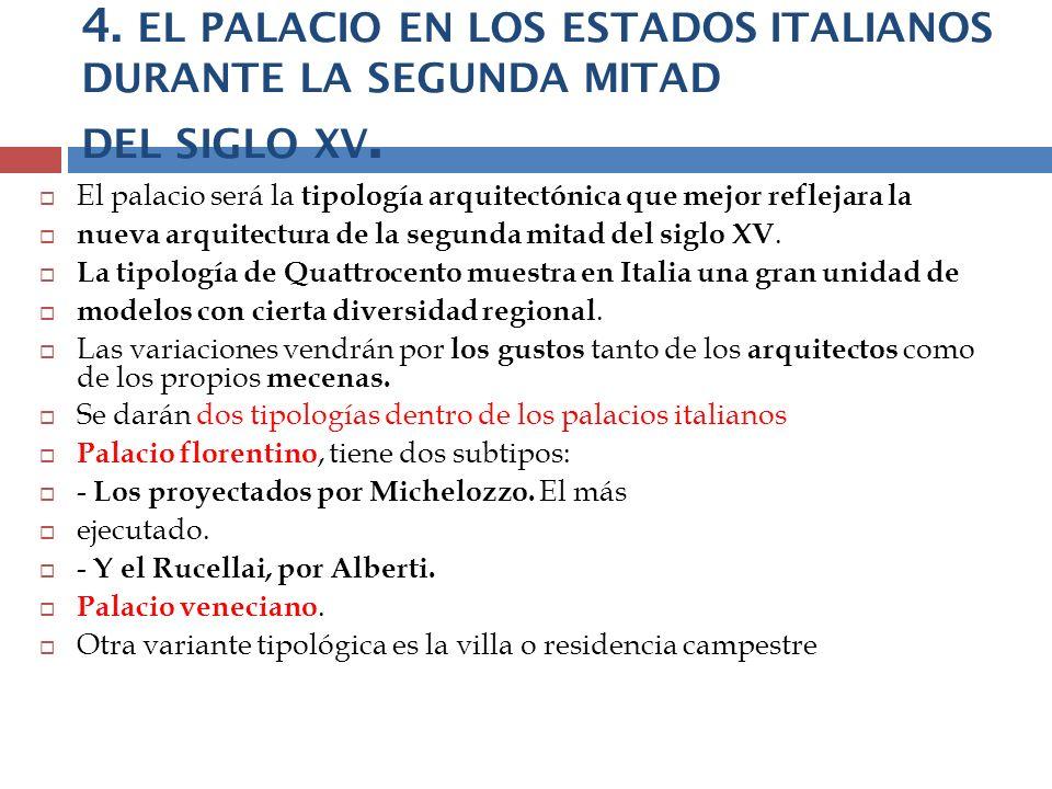 4. EL PALACIO EN LOS ESTADOS ITALIANOS DURANTE LA SEGUNDA MITAD DEL SIGLO XV. El palacio será la tipología arquitectónica que mejor reflejara la nueva