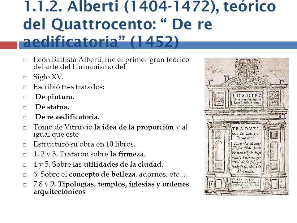 1.1.2. Alberti (1404-1472), teórico del Quattrocento: De re aedificatoria (1452) León Battista Alberti, fue el primer gran teórico del arte del Humani