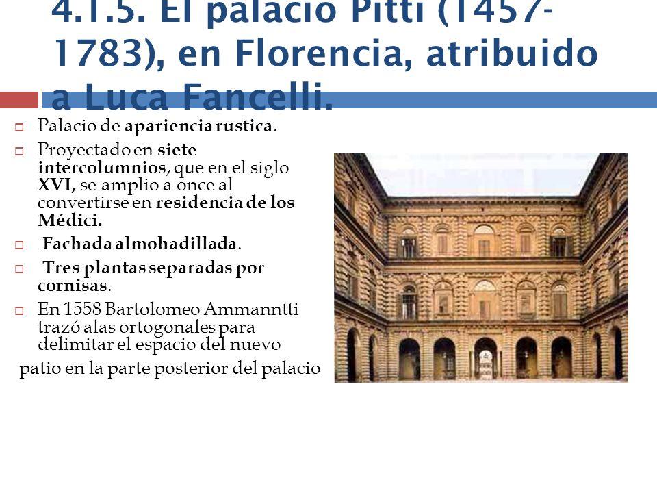 Palacio de apariencia rustica. Proyectado en siete intercolumnios, que en el siglo XVI, se amplio a once al convertirse en residencia de los Médici. F