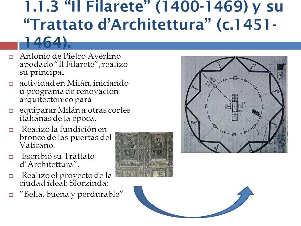 1.1.3 Il Filarete (1400-1469) y su Trattato dArchitettura (c.1451- 1464). Antonio de Pietro Averlino apodado Il Filarete, realizó su principal activid