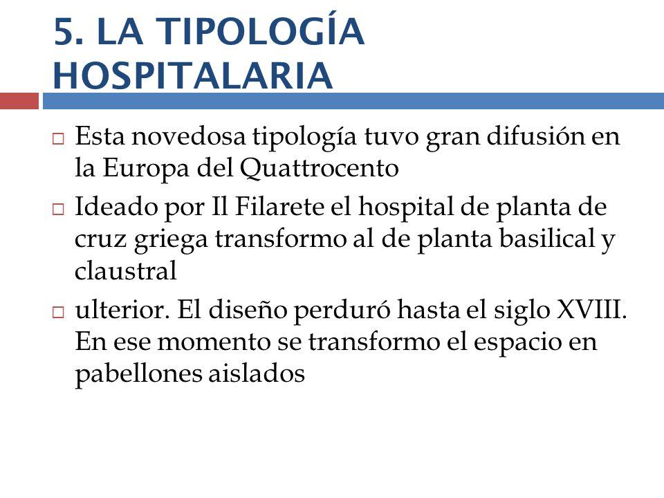 5. LA TIPOLOGÍA HOSPITALARIA Esta novedosa tipología tuvo gran difusión en la Europa del Quattrocento Ideado por Il Filarete el hospital de planta de