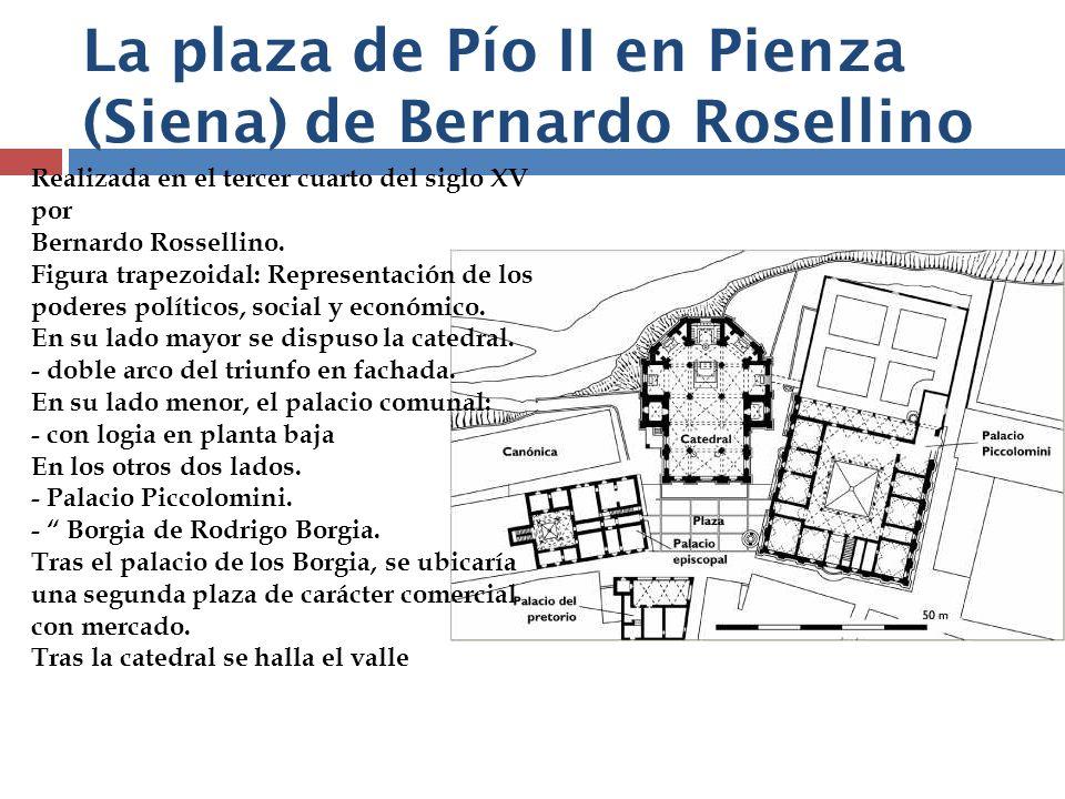 La plaza de Pío II en Pienza (Siena) de Bernardo Rosellino Realizada en el tercer cuarto del siglo XV por Bernardo Rossellino. Figura trapezoidal: Rep