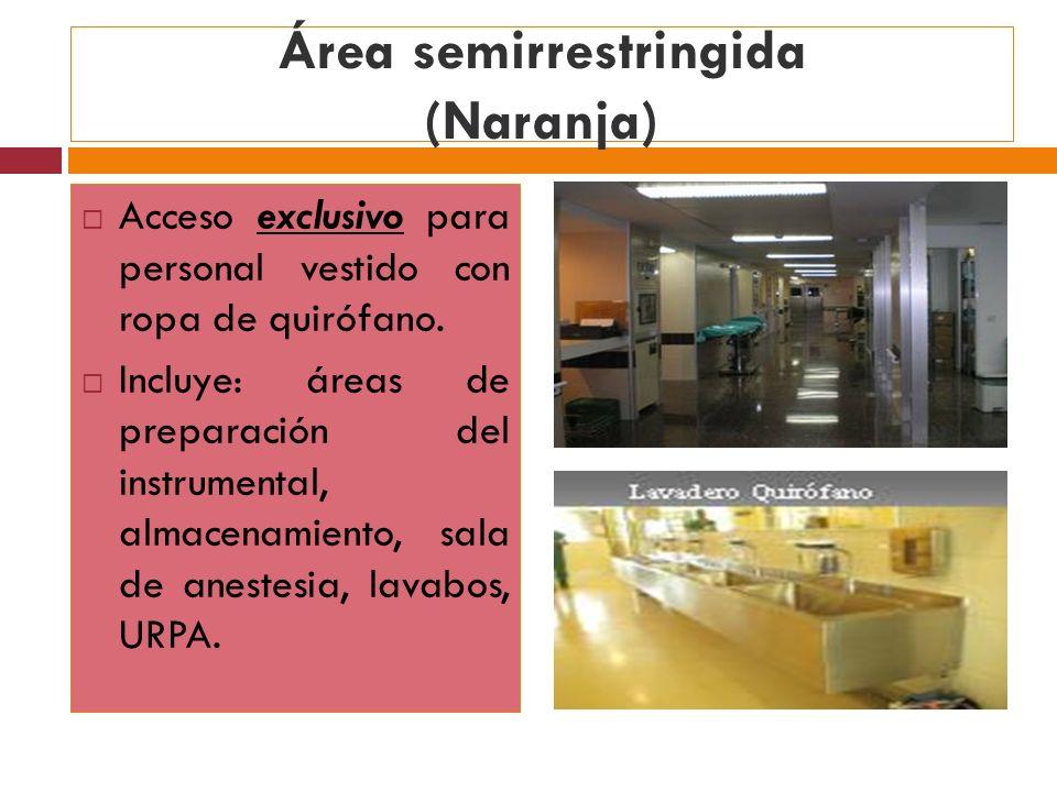 Área semirrestringida (Naranja) Acceso exclusivo para personal vestido con ropa de quirófano. Incluye: áreas de preparación del instrumental, almacena