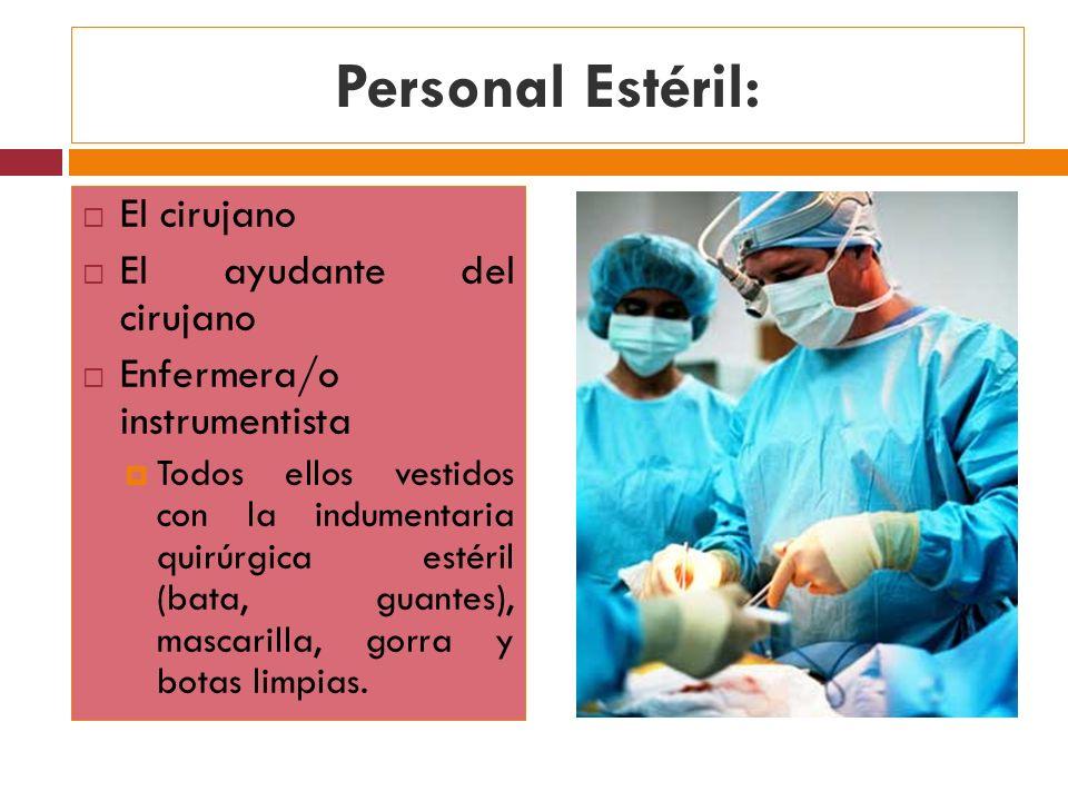 Personal Estéril: El cirujano El ayudante del cirujano Enfermera/o instrumentista Todos ellos vestidos con la indumentaria quirúrgica estéril (bata, g