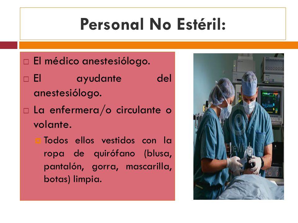 Personal No Estéril: El médico anestesiólogo. El ayudante del anestesiólogo. La enfermera/o circulante o volante. Todos ellos vestidos con la ropa de