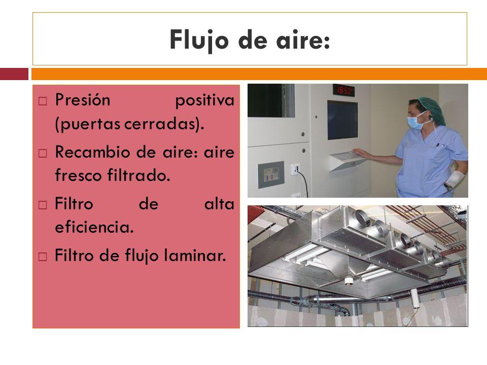 Flujo de aire: Presión positiva (puertas cerradas). Recambio de aire: aire fresco filtrado. Filtro de alta eficiencia. Filtro de flujo laminar.