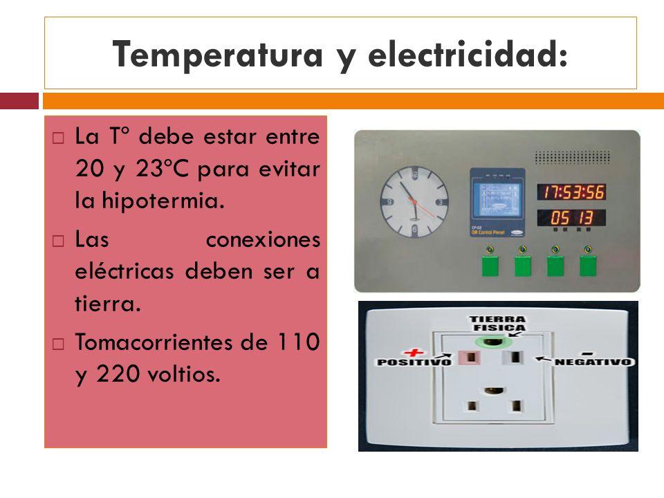 Temperatura y electricidad: La Tº debe estar entre 20 y 23ºC para evitar la hipotermia. Las conexiones eléctricas deben ser a tierra. Tomacorrientes d