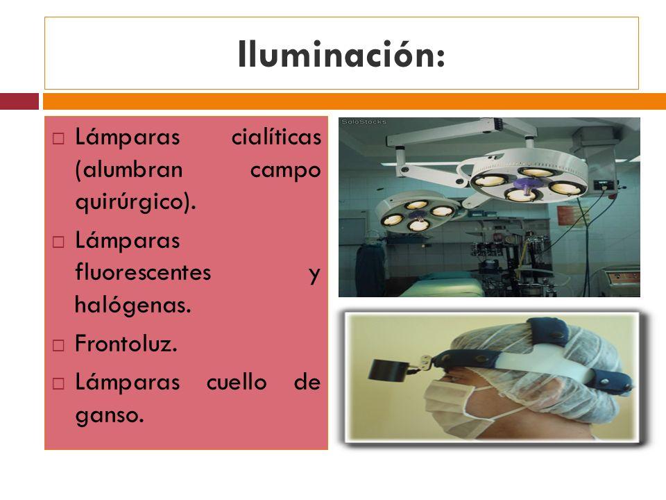 Iluminación: Lámparas cialíticas (alumbran campo quirúrgico). Lámparas fluorescentes y halógenas. Frontoluz. Lámparas cuello de ganso.