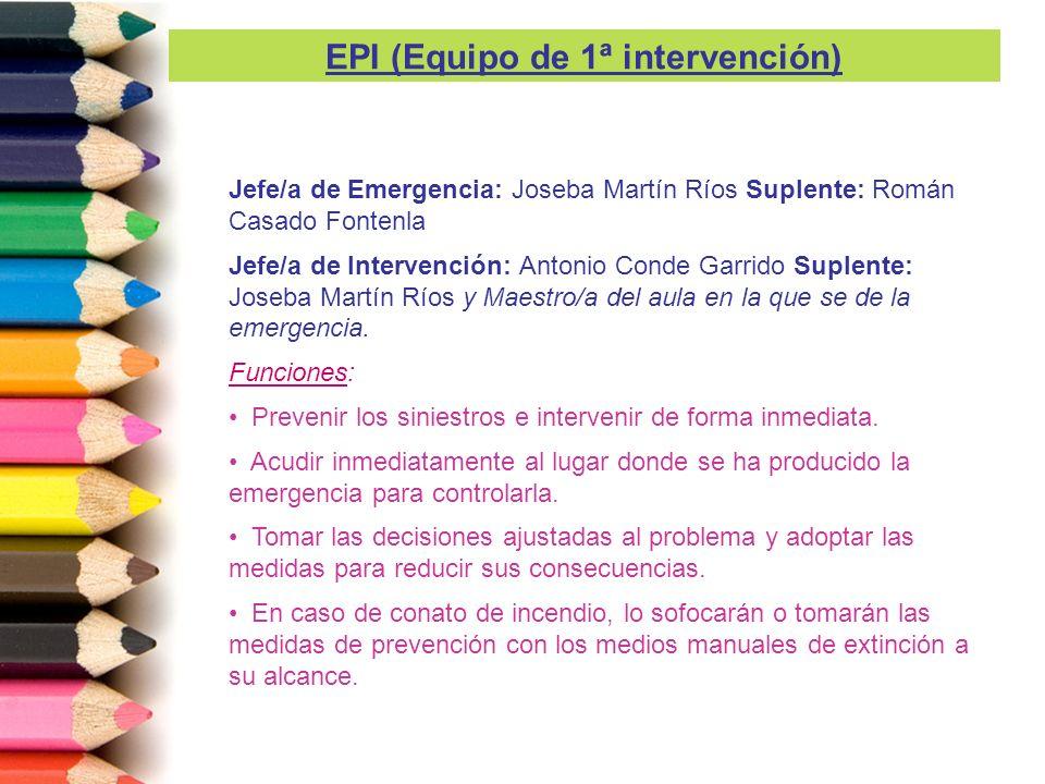 Antonio Conde Garrido Suplente: Joseba Martín Ríos Funciones: Comunicar con los Equipos de Apoyo Externos (061, 080, 091, etc) las incidencias que le indique el Jefe de Emergencia.