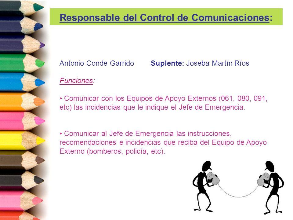 Antonio Conde Garrido Suplente: Joseba Martín Ríos Funciones: Comunicar con los Equipos de Apoyo Externos (061, 080, 091, etc) las incidencias que le