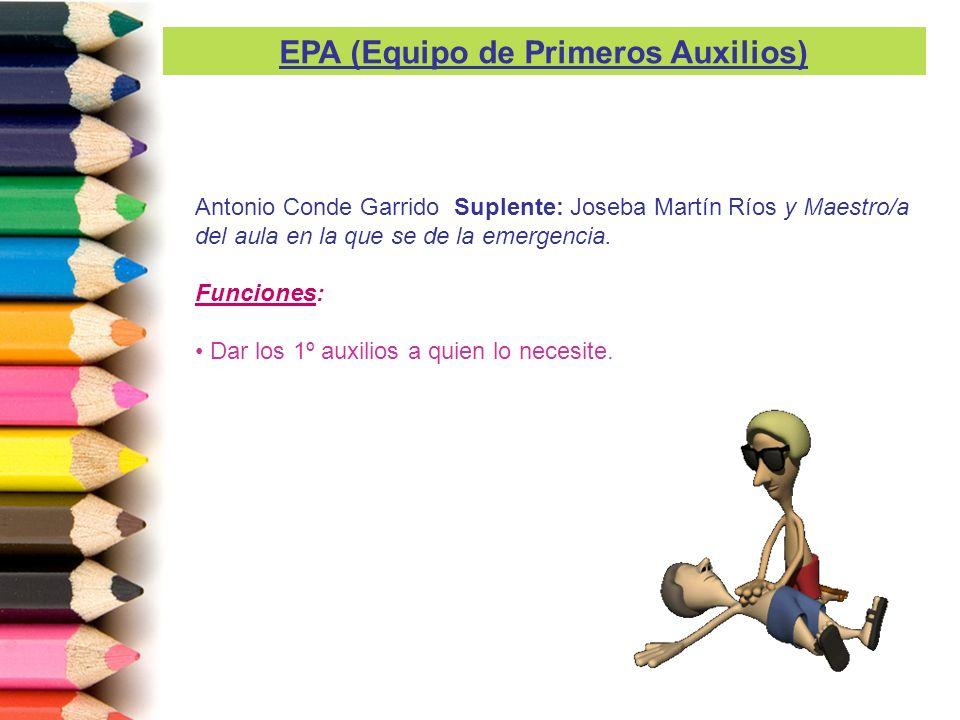Antonio Conde Garrido Suplente: Joseba Martín Ríos y Maestro/a del aula en la que se de la emergencia. Funciones: Dar los 1º auxilios a quien lo neces