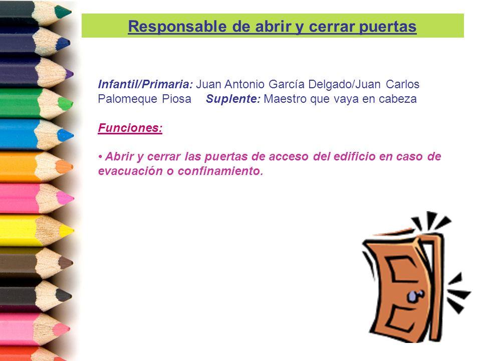 Infantil/Primaria: Juan Antonio García Delgado/Juan Carlos Palomeque Piosa Suplente: Maestro que vaya en cabeza Funciones: Abrir y cerrar las puertas