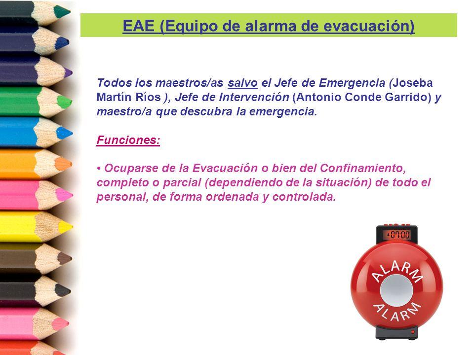 Todos los maestros/as salvo el Jefe de Emergencia (Joseba Martín Ríos ), Jefe de Intervención (Antonio Conde Garrido) y maestro/a que descubra la emer