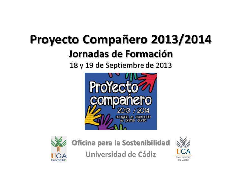 EDUCACIÓN AMBIENTAL Oficina para la Sostenibilidad de la Universidad de Cádiz Lorena Ávila Parodi PROYECTO COMPAÑERO 2013-2014 Nuestros objetivos: Promover el Compromiso Ambiental de la comunidad universitaria para que se responsabilice y colabore en una Universidad más Sostenible.