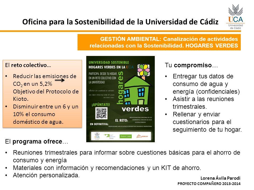 GESTIÓN AMBIENTAL: Canalización de actividades relacionadas con la Sostenibilidad. HOGARES VERDES Oficina para la Sostenibilidad de la Universidad de
