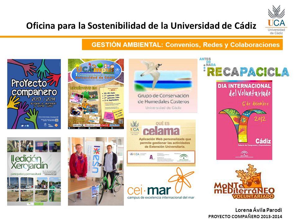 GESTIÓN AMBIENTAL: Convenios, Redes y Colaboraciones Oficina para la Sostenibilidad de la Universidad de Cádiz Lorena Ávila Parodi PROYECTO COMPAÑERO