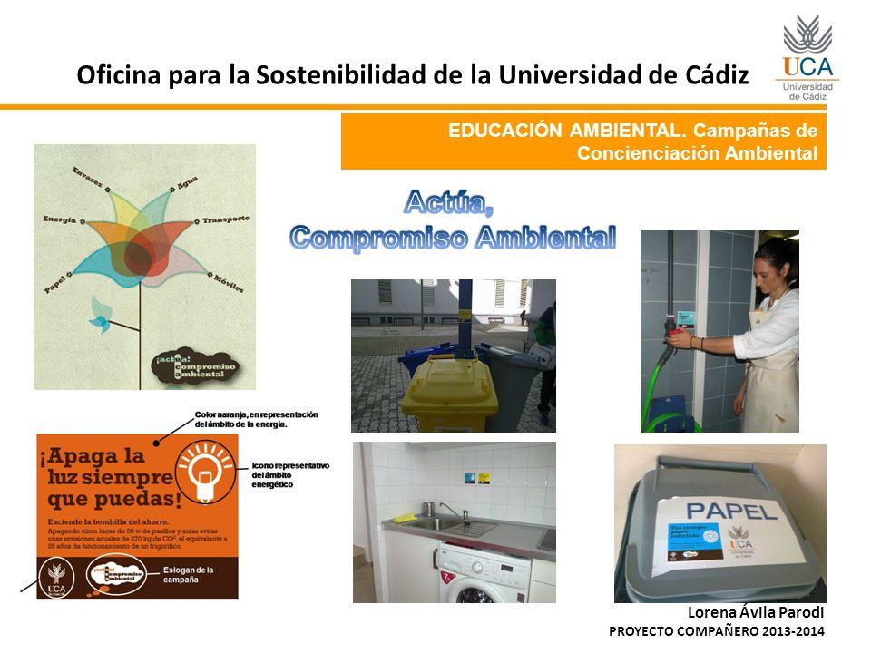 EDUCACIÓN AMBIENTAL. Campañas de Concienciación Ambiental Oficina para la Sostenibilidad de la Universidad de Cádiz Lorena Ávila Parodi PROYECTO COMPA