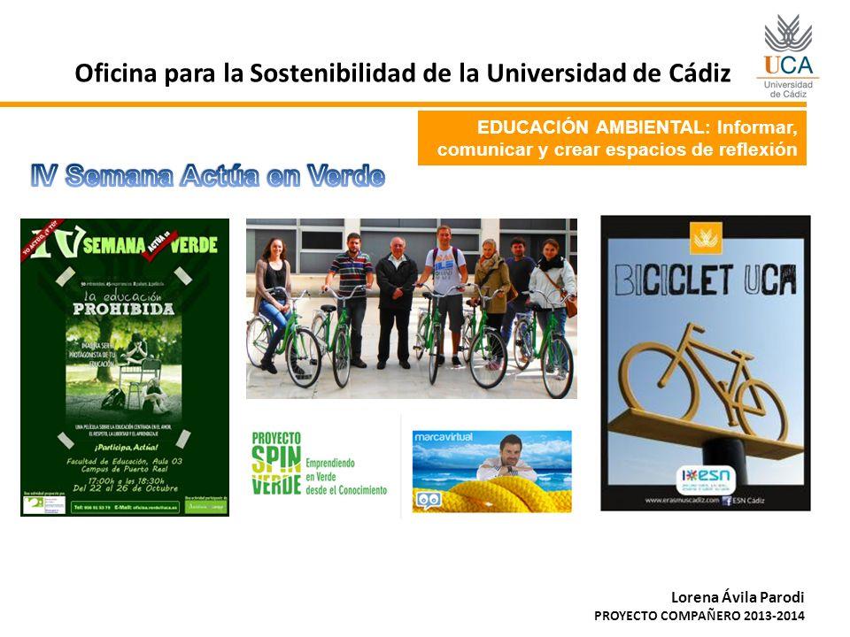 EDUCACIÓN AMBIENTAL: Informar, comunicar y crear espacios de reflexión Oficina para la Sostenibilidad de la Universidad de Cádiz Lorena Ávila Parodi P
