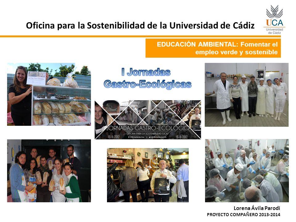 EDUCACIÓN AMBIENTAL: Fomentar el empleo verde y sostenible Oficina para la Sostenibilidad de la Universidad de Cádiz Lorena Ávila Parodi PROYECTO COMP