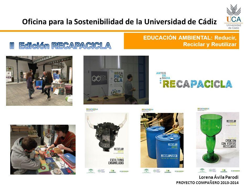 EDUCACIÓN AMBIENTAL: Reducir, Reciclar y Reutilizar Oficina para la Sostenibilidad de la Universidad de Cádiz Lorena Ávila Parodi PROYECTO COMPAÑERO 2