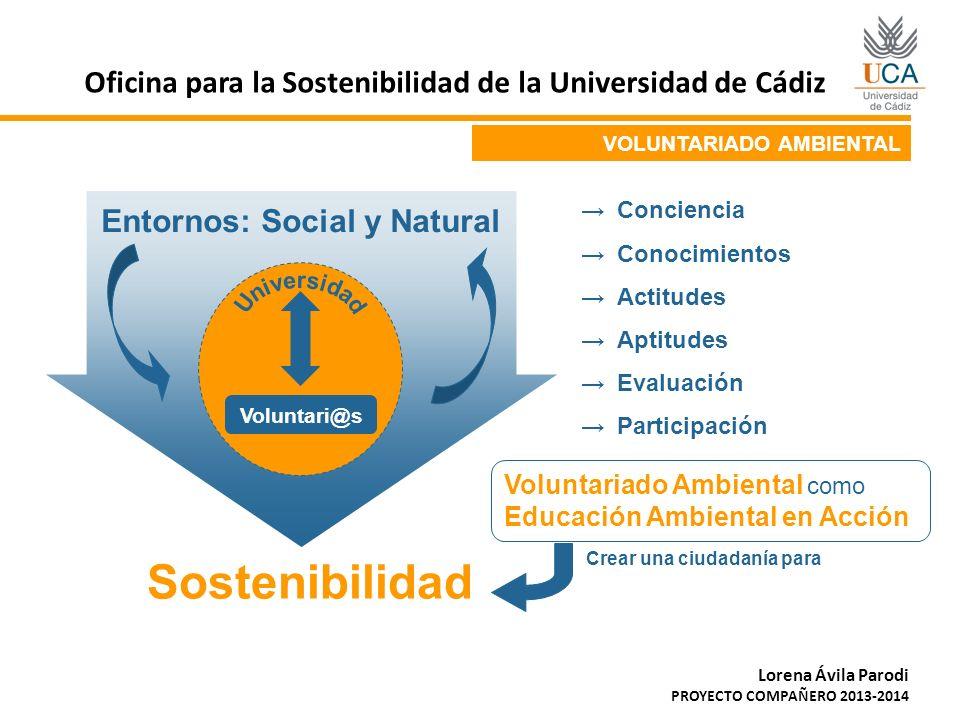 VOLUNTARIADO AMBIENTAL Voluntari@s Entornos: Social y Natural Sostenibilidad Conciencia Conocimientos Actitudes Aptitudes Evaluación Participación Vol
