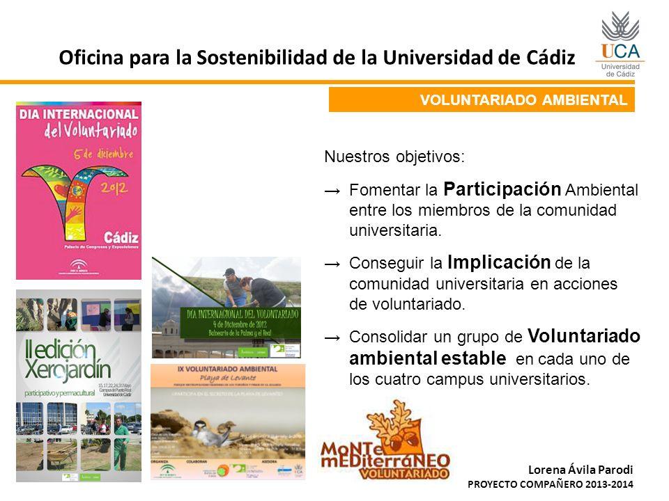 VOLUNTARIADO AMBIENTAL Oficina para la Sostenibilidad de la Universidad de Cádiz Lorena Ávila Parodi PROYECTO COMPAÑERO 2013-2014 Nuestros objetivos: