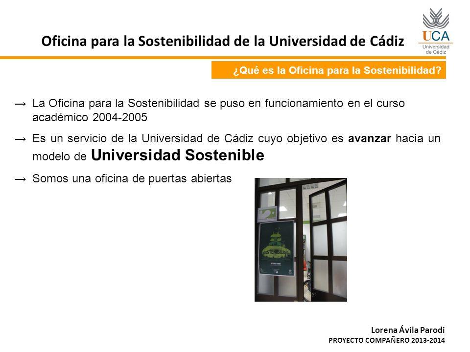 ¿Qué es la Oficina para la Sostenibilidad? La Oficina para la Sostenibilidad se puso en funcionamiento en el curso académico 2004-2005 Es un servicio