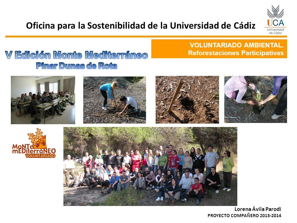 VOLUNTARIADO AMBIENTAL. Reforestaciones Participativas Oficina para la Sostenibilidad de la Universidad de Cádiz Lorena Ávila Parodi PROYECTO COMPAÑER