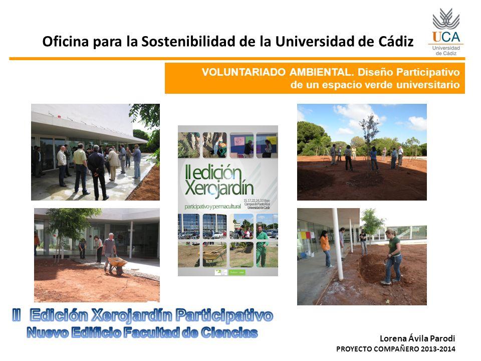 Oficina para la Sostenibilidad de la Universidad de Cádiz Lorena Ávila Parodi PROYECTO COMPAÑERO 2013-2014 VOLUNTARIADO AMBIENTAL. Diseño Participativ