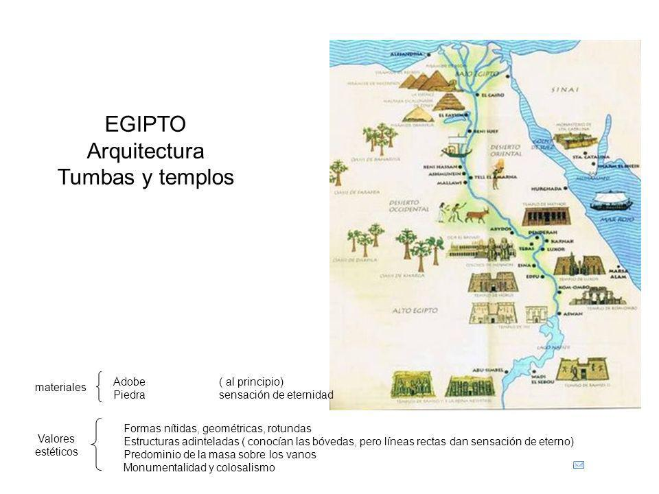 EGIPTO Arquitectura Tumbas y templos materiales Adobe ( al principio) Piedra sensación de eternidad Valores estéticos Formas nítidas, geométricas, rot