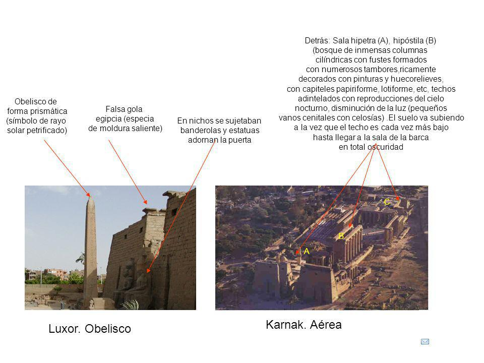 Luxor. Obelisco Falsa gola egipcia (especia de moldura saliente) Obelisco de forma prismática (símbolo de rayo solar petrificado) En nichos se sujetab