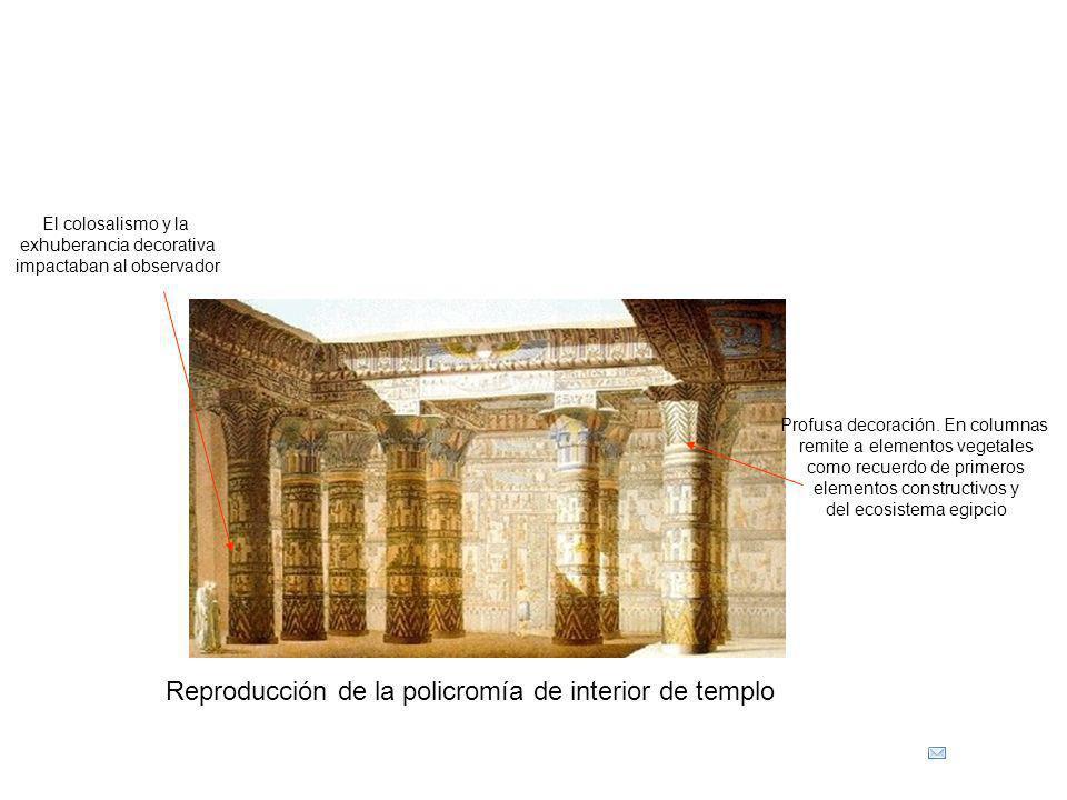 Reproducción de la policromía de interior de templo Profusa decoración. En columnas remite a elementos vegetales como recuerdo de primeros elementos c