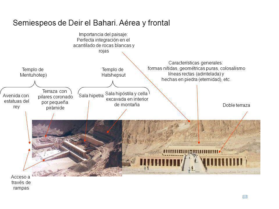 Acceso a través de rampas Doble terraza Sala hipetra Sala hipóstila y cella excavada en interior de montaña Características generales: formas nítidas,