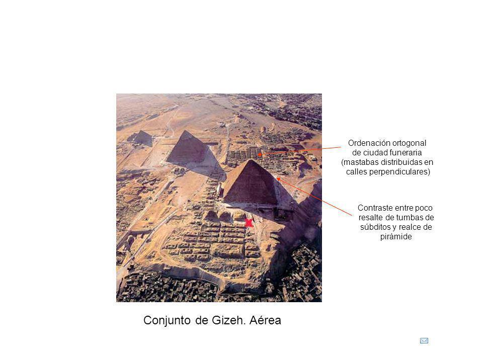 Conjunto de Gizeh. Aérea Ordenación ortogonal de ciudad funeraria (mastabas distribuidas en calles perpendiculares) Contraste entre poco resalte de tu
