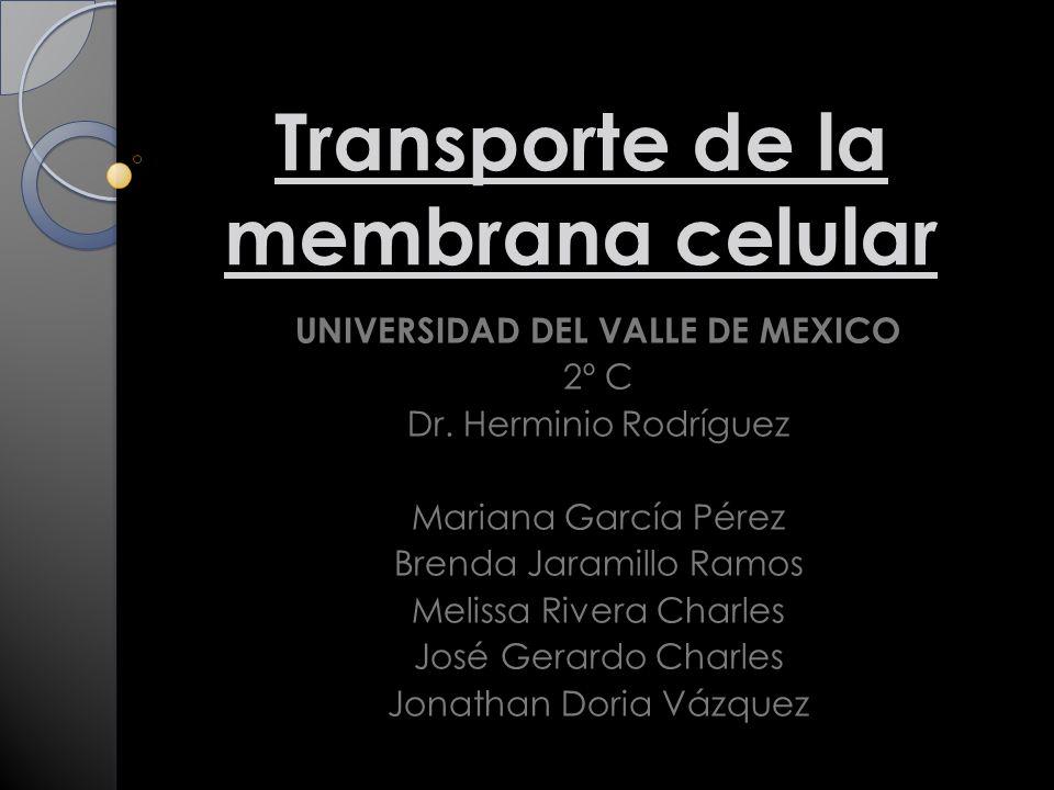 Transporte de la membrana celular UNIVERSIDAD DEL VALLE DE MEXICO 2º C Dr.