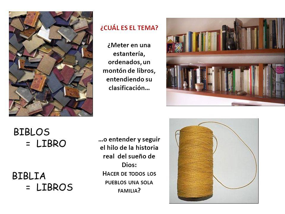 BIBLOS = LIBRO BIBLIA = LIBROS ¿CUÁL ES EL TEMA? ¿Meter en una estantería, ordenados, un montón de libros, entendiendo su clasificación… …o entender y